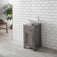 GREY WASH Solid Oak 450mm Square Bathroom Vanity + Round White Bowl Set ALTA45G