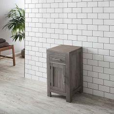 450mm Square Cloakroom GREY WASH Solid Oak Vanity Storage Cabinet ALTA45G