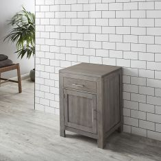 DUE END APRIL 2019 Grey Wash Solid Oak Single Door 600mm Bathroom Basin Cabinet ALTA60G