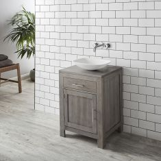 Grey Wash Solid Oak 600mm Bathroom Cabinet + Matt Rectangle Aero Basin Set ALTA60G