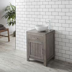 Grey Wash Solid Oak 600mm Bathroom Cabinet + 350mm White Bowl Basin Set ALTA60G