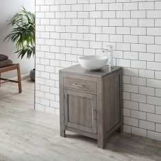 Grey Wash Solid Oak 600mm Bathroom Cabinet + 350mm White Bowl Basin Set ALTA60G