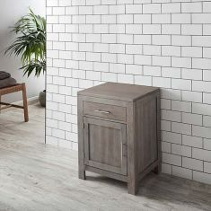 Grey Wash Solid Oak Single Door 600mm Bathroom Basin Cabinet ALTA60G