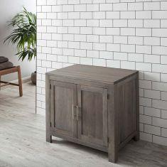 Freestanding Large Grey Wash Large Two Door Solid Oak Bathroom Vanity Cabinet 900mm ALTA90G