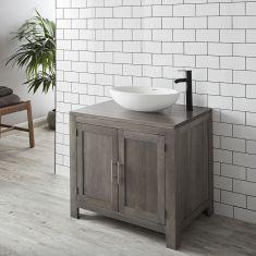 Freestanding Grey Wash Oak Bathroom Vanity Cabinet 900mm + Oval Solid Surface Basin Set ALTA90G