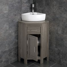 Small Corner GREY WASH Storage Cloakroom Oak Cabinet + Corner Basin Set ALTAS