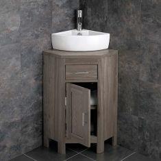 Small Corner GREY WASH Storage Cloakroom Oak Cabinet + Corner Basin Set ALTASG