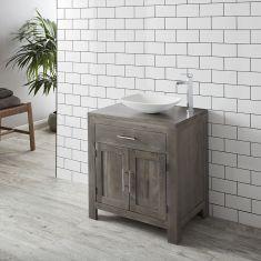 Grey Wash Solid Oak 750mm Bathroom Vanity Storage Cabinet + Matt Rectangle Aero Basin Set ALTA75G