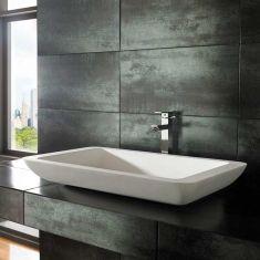 Countertop Rectangle Stone Resin Pure White Basin 800mm x 460mm SOLO