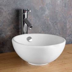 Cloakroom Round White Bathroom Bowl with Overflow 300mm Diameter STABIA