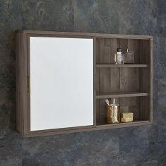 Sliding Door 800mm Wide Solid Oak Mirror Bathroom Cabinet and Shelves
