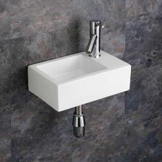 Cloakroom Compact Rectangle Wall Hung Basin 360mm x 235mm Right TARANTO
