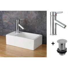 Small Countertop Cloakroom Basin Bundle Left Hand Sink with Tap and Waste Taranto