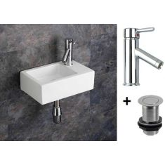 Narrow Wall Hung Cloakroom Basin Bundle White Ceramic 360mm x 235mm with Chrome Tap and Waste Taranto