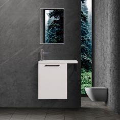Gloss White Wall Hung Bathroom Vanity with Towel Rack 550mm x 220mm with Tap and Waste MYLA