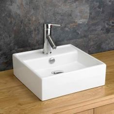 Small Cloakroom Square White Bathroom Counter Top Sink 380mm TIVOLI
