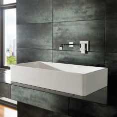 Rectangle Large White Stone Resin Countertop Basin 800mm x 400mm TORA