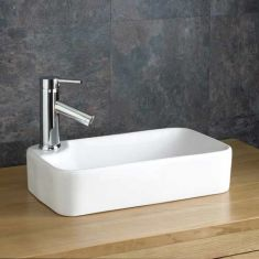 Narrow Countertop White Rectangular Bathroom Sink 440mm x 250mm TORRE