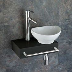 Narrow Black Floating Shelf + Oval Basin Set 400mm x 250mm TOULON