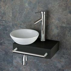 Narrow Black Wood Shelf + Small Round Basin Set 400mm x 250mm TOULON