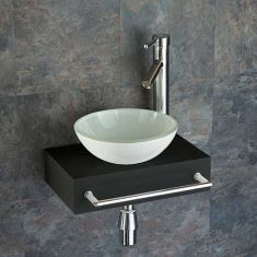 Slimline Black Wood Shelf + White Glass Basin Set 400mm x 250mm TOULON