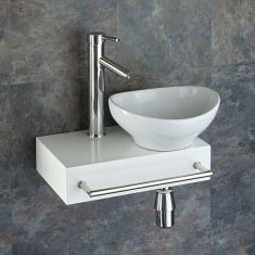 Narrow Floating White Bathroom Shelf + Oval Basin Set | TOULON BOLOGNA