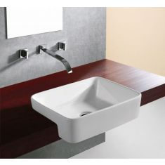 Large Semi Recessed Bathroom Basin 480mm x 370mm in White Ceramic Fosha