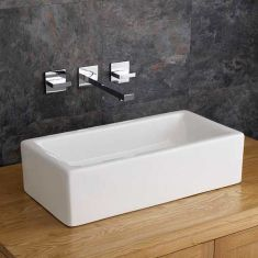 Rectangle Above Counter Basin 490mm x 250mm TREVISO + Wall Tap + Plug