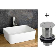 Rectangular Countertop Bathroom Basin with Sink Waste Bundle White Ceramic Sink 450mm x 360mm Trieste