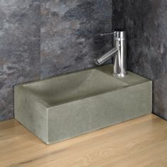 Countertop Basin in Light Grey Sandstone Right Hand Cloakroom Sink Valletri