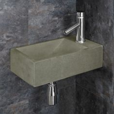 Light Grey Sandstone Right Hand Wall Hung Cloakroom Sink Valletri