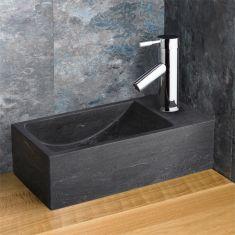 Black Stone Valletri Basin with Chrome Tap