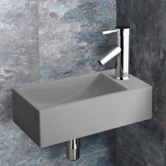 Valletri Matte Grey Stone Basin with Chrome Tap