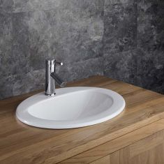 White Ceramic Self Rimming Oval Bathroom Basin 520mm x 430mm VIDA