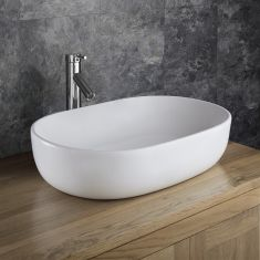 Counter Top Large White Oval Bathroom Sink 600mm x 425mm ALARA