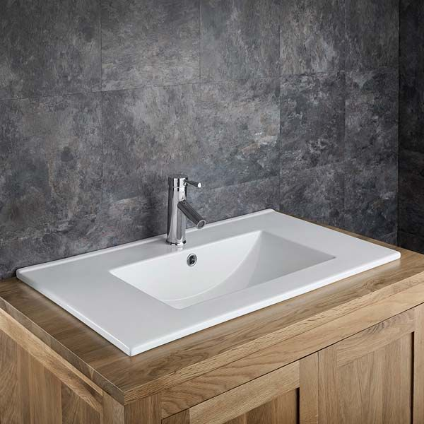White Rectangle Self Rimming Counter Top Bathroom Basin 760mm x 460mm PETRA