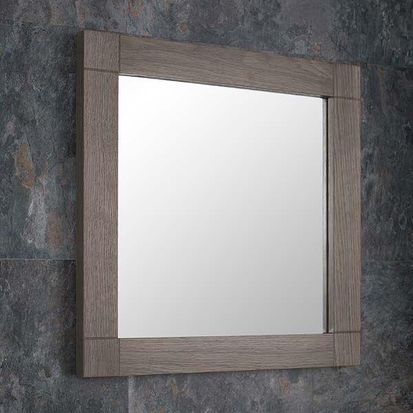 Grey Wash Solid Oak 450mm Square Wall, Oak Framed Bathroom Mirrors