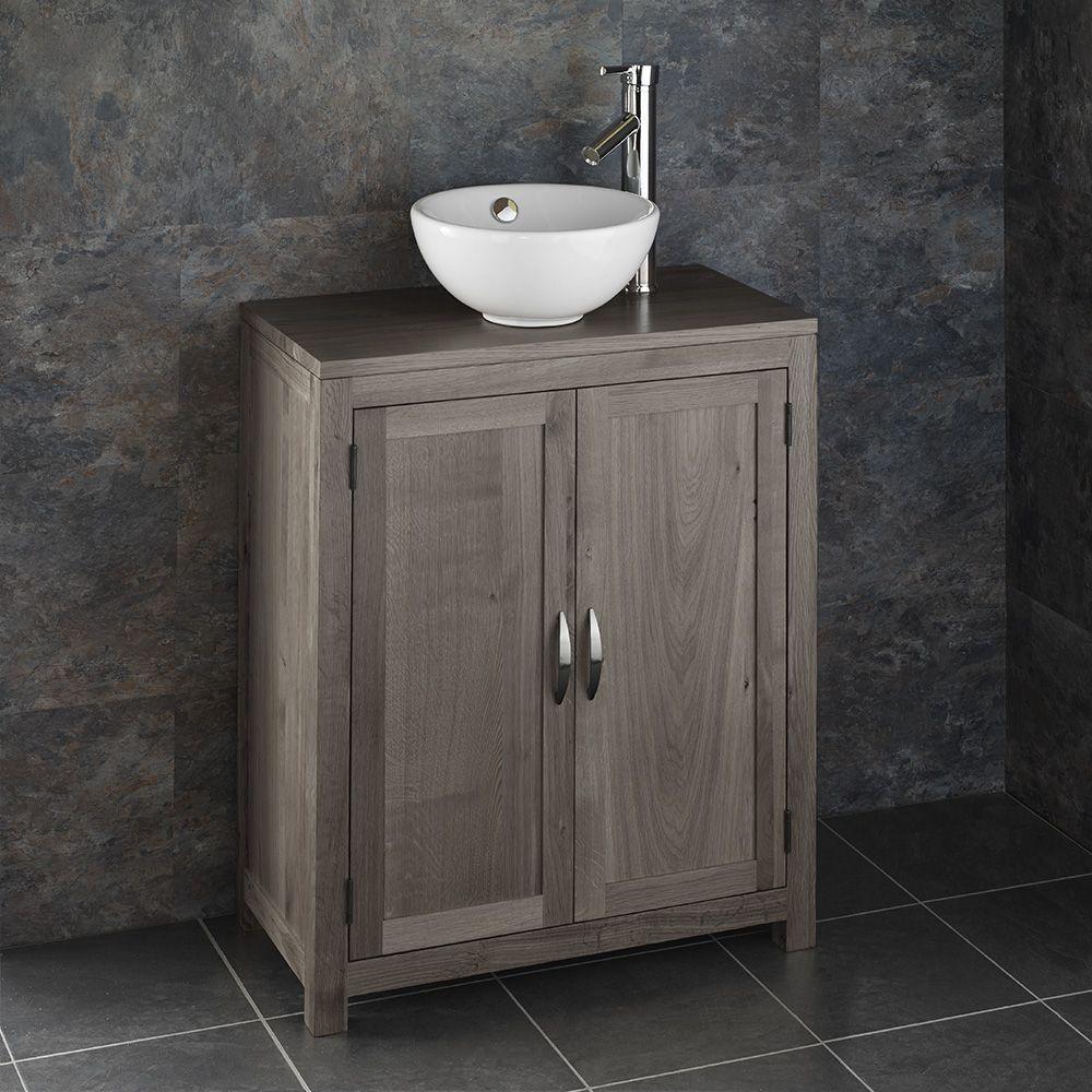 Grey Wash Cloakroom Oak Narrow 650mm Vanity Unit Round Basin Set Alta65g