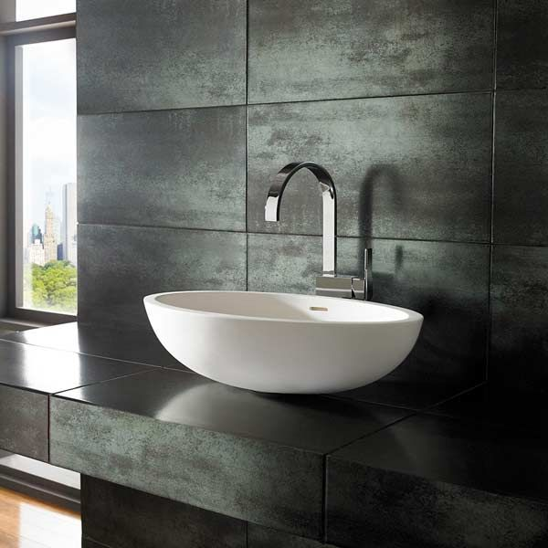 Kuro Oval Stone Resin 600mm By 350mm, Bathroom Sink And Countertop