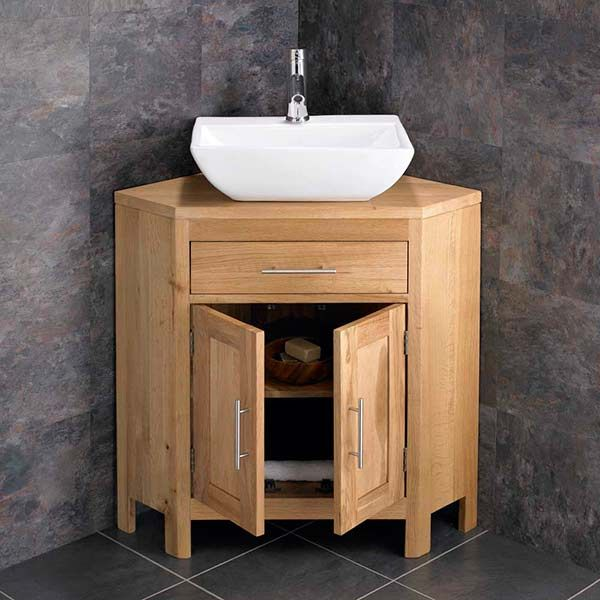 Double Door 780mm Oak Corner Vanity Unit Rectangular Basin