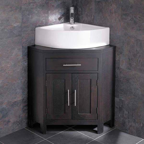Wenge Oak Two Door Corner Storage Unit, Corner Cloakroom Vanity Unit Uk