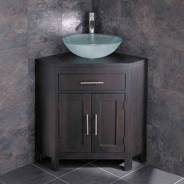 Alta Bathroom Corner Cabinet In Wenge Oak With Round 420mm Glass Sink