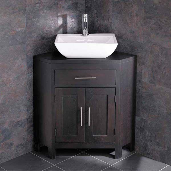 Freestanding Alta Wenge Solid Oak Corner Bathroom Storage Unit Basin