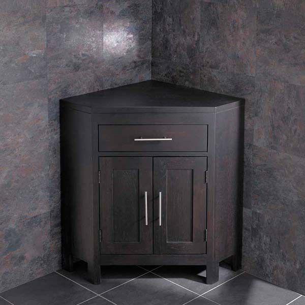 Alta Solid Dark Wenge Oak Two Door Corner Bathroom Storage Cabinet