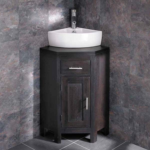 Attractive Dark Wenge Oak Compact Corner Vanity Unit Basin