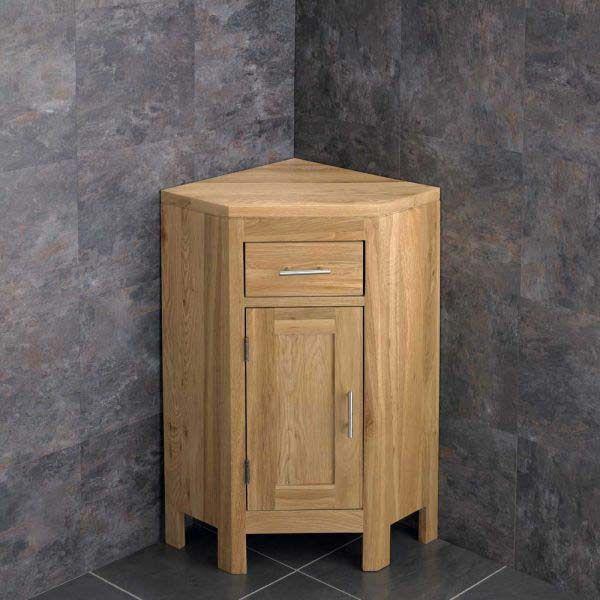 Small Corner Vanity Storage Unit In Natural Oak 570mm Alta