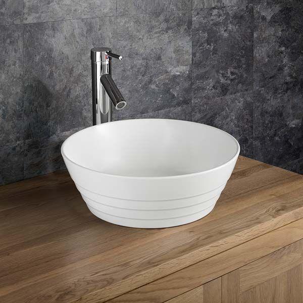 Large Round Ridged White Ceramic Above Counter Bathroom Basin Bowl 400mm Aspra