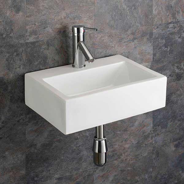Rectangular Ceramic Wall Mounted 430mm Bathroom Basin Barletta