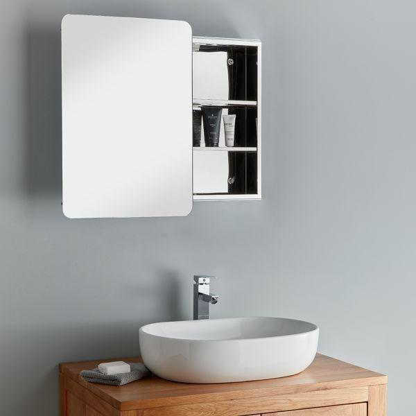 Sliding Door Bathroom Mirror Cabinet, Long Mirrored Vanity Cabinets