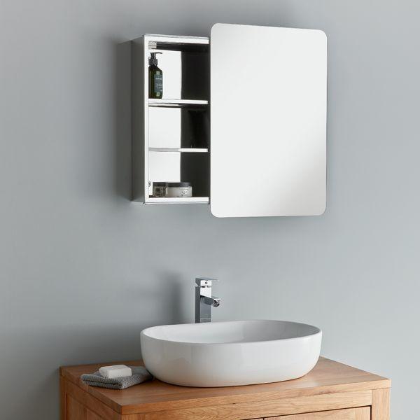 Sliding Door Bathroom Mirror Cabinet, Large Glass Bathroom Cabinets